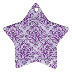 Damask1 White Marble & Purple Denim (r) Star Ornament (two Sides) by trendistuff