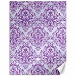 DAMASK1 WHITE MARBLE & PURPLE DENIM (R) Canvas 12  x 16   16 x12 Canvas - 1