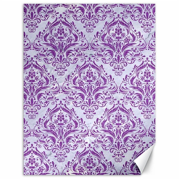 DAMASK1 WHITE MARBLE & PURPLE DENIM (R) Canvas 12  x 16
