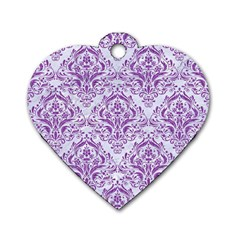 DAMASK1 WHITE MARBLE & PURPLE DENIM (R) Dog Tag Heart (Two Sides)