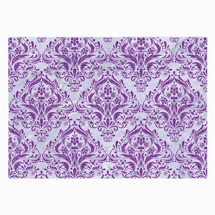 DAMASK1 WHITE MARBLE & PURPLE DENIM (R) Large Glasses Cloth