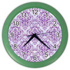 DAMASK1 WHITE MARBLE & PURPLE DENIM (R) Color Wall Clocks
