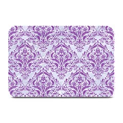 DAMASK1 WHITE MARBLE & PURPLE DENIM (R) Plate Mats
