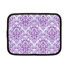 Damask1 White Marble & Purple Denim (r) Netbook Case (small)  by trendistuff