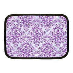 Damask1 White Marble & Purple Denim (r) Netbook Case (medium)  by trendistuff