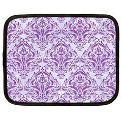 Damask1 White Marble & Purple Denim (r) Netbook Case (large) by trendistuff