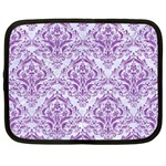 DAMASK1 WHITE MARBLE & PURPLE DENIM (R) Netbook Case (Large) Front