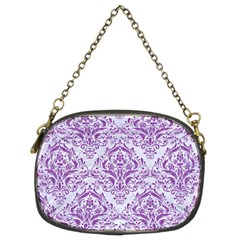 Damask1 White Marble & Purple Denim (r) Chain Purses (two Sides)