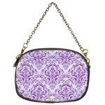 DAMASK1 WHITE MARBLE & PURPLE DENIM (R) Chain Purses (Two Sides)  Front
