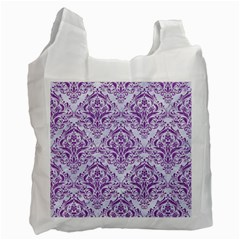 Damask1 White Marble & Purple Denim (r) Recycle Bag (one Side) by trendistuff
