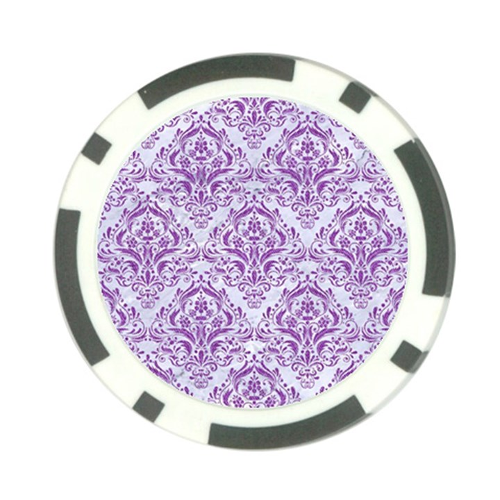 DAMASK1 WHITE MARBLE & PURPLE DENIM (R) Poker Chip Card Guard (10 pack)