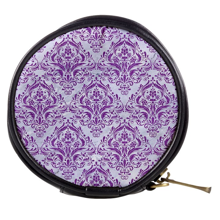 DAMASK1 WHITE MARBLE & PURPLE DENIM (R) Mini Makeup Bags