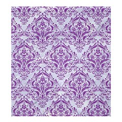 DAMASK1 WHITE MARBLE & PURPLE DENIM (R) Shower Curtain 66  x 72  (Large)