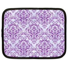 Damask1 White Marble & Purple Denim (r) Netbook Case (xl)  by trendistuff
