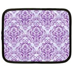 DAMASK1 WHITE MARBLE & PURPLE DENIM (R) Netbook Case (XL)  Front