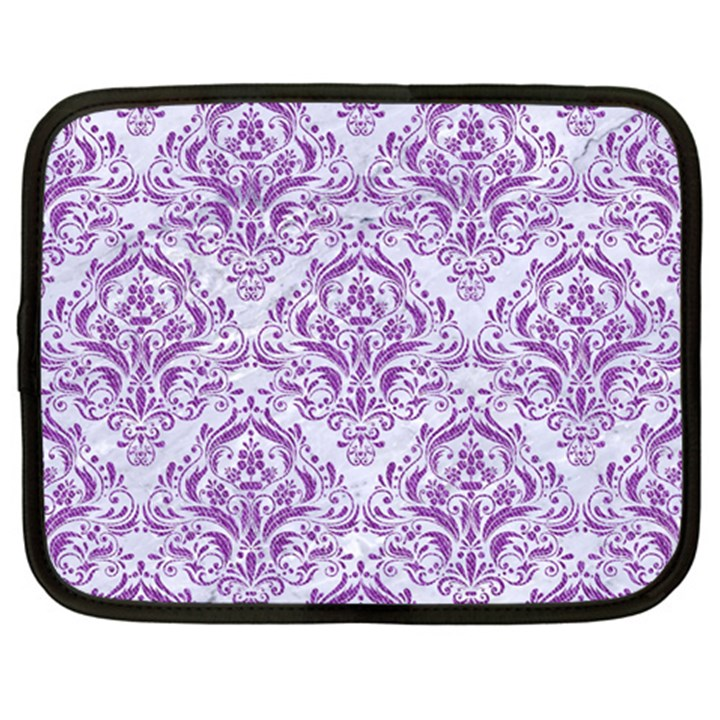 DAMASK1 WHITE MARBLE & PURPLE DENIM (R) Netbook Case (XL)