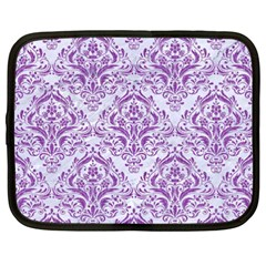 Damask1 White Marble & Purple Denim (r) Netbook Case (xxl)  by trendistuff
