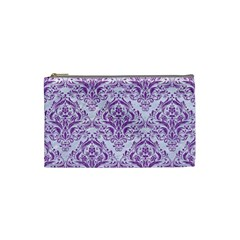 DAMASK1 WHITE MARBLE & PURPLE DENIM (R) Cosmetic Bag (Small)