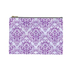 Damask1 White Marble & Purple Denim (r) Cosmetic Bag (large)  by trendistuff
