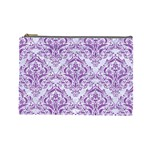 DAMASK1 WHITE MARBLE & PURPLE DENIM (R) Cosmetic Bag (Large)  Front