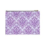 DAMASK1 WHITE MARBLE & PURPLE DENIM (R) Cosmetic Bag (Large)  Back