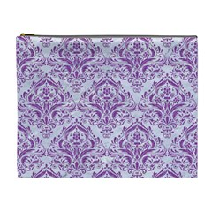 DAMASK1 WHITE MARBLE & PURPLE DENIM (R) Cosmetic Bag (XL)