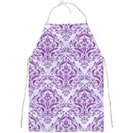DAMASK1 WHITE MARBLE & PURPLE DENIM (R) Full Print Aprons Front