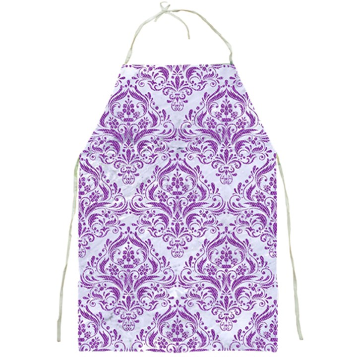 DAMASK1 WHITE MARBLE & PURPLE DENIM (R) Full Print Aprons