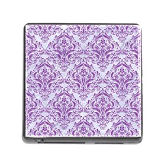 DAMASK1 WHITE MARBLE & PURPLE DENIM (R) Memory Card Reader (Square)