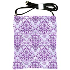 Damask1 White Marble & Purple Denim (r) Shoulder Sling Bags by trendistuff