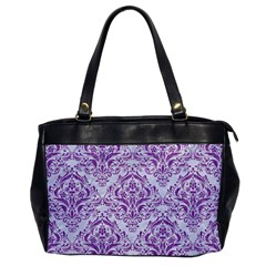 Damask1 White Marble & Purple Denim (r) Office Handbags by trendistuff