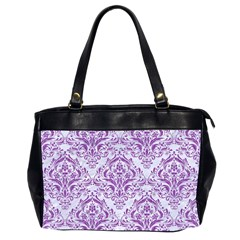 Damask1 White Marble & Purple Denim (r) Office Handbags (2 Sides)  by trendistuff