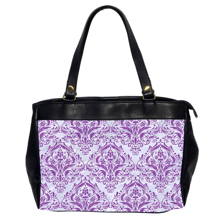 DAMASK1 WHITE MARBLE & PURPLE DENIM (R) Office Handbags (2 Sides)