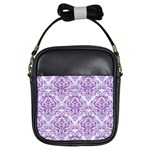 DAMASK1 WHITE MARBLE & PURPLE DENIM (R) Girls Sling Bags Front