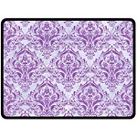 DAMASK1 WHITE MARBLE & PURPLE DENIM (R) Fleece Blanket (Large)  80 x60 Blanket Front