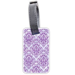 DAMASK1 WHITE MARBLE & PURPLE DENIM (R) Luggage Tags (One Side)