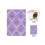 DAMASK1 WHITE MARBLE & PURPLE DENIM (R) Playing Cards (Mini)  Back