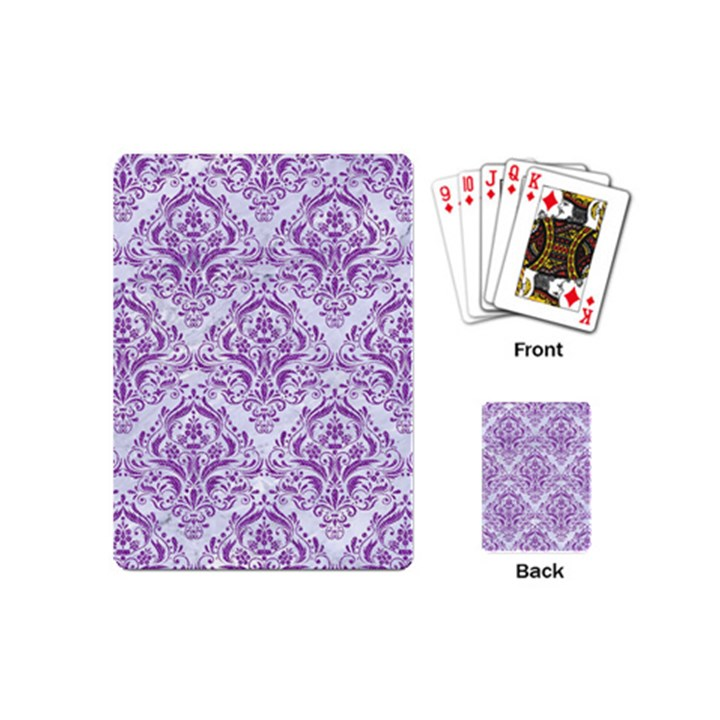 DAMASK1 WHITE MARBLE & PURPLE DENIM (R) Playing Cards (Mini)
