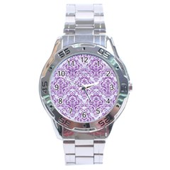 DAMASK1 WHITE MARBLE & PURPLE DENIM (R) Stainless Steel Analogue Watch