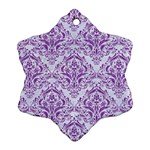 DAMASK1 WHITE MARBLE & PURPLE DENIM (R) Ornament (Snowflake) Front