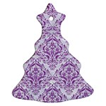 DAMASK1 WHITE MARBLE & PURPLE DENIM (R) Ornament (Christmas Tree)  Front