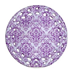 DAMASK1 WHITE MARBLE & PURPLE DENIM (R) Round Filigree Ornament (Two Sides)