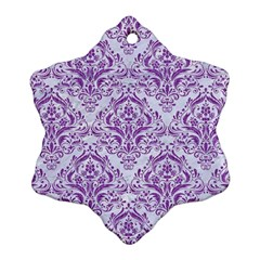 DAMASK1 WHITE MARBLE & PURPLE DENIM (R) Snowflake Ornament (Two Sides)