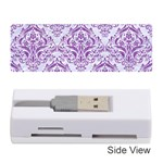 DAMASK1 WHITE MARBLE & PURPLE DENIM (R) Memory Card Reader (Stick)  Front
