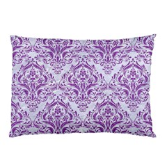 DAMASK1 WHITE MARBLE & PURPLE DENIM (R) Pillow Case (Two Sides)