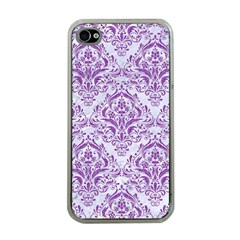 Damask1 White Marble & Purple Denim (r) Apple Iphone 4 Case (clear) by trendistuff