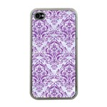 DAMASK1 WHITE MARBLE & PURPLE DENIM (R) Apple iPhone 4 Case (Clear) Front