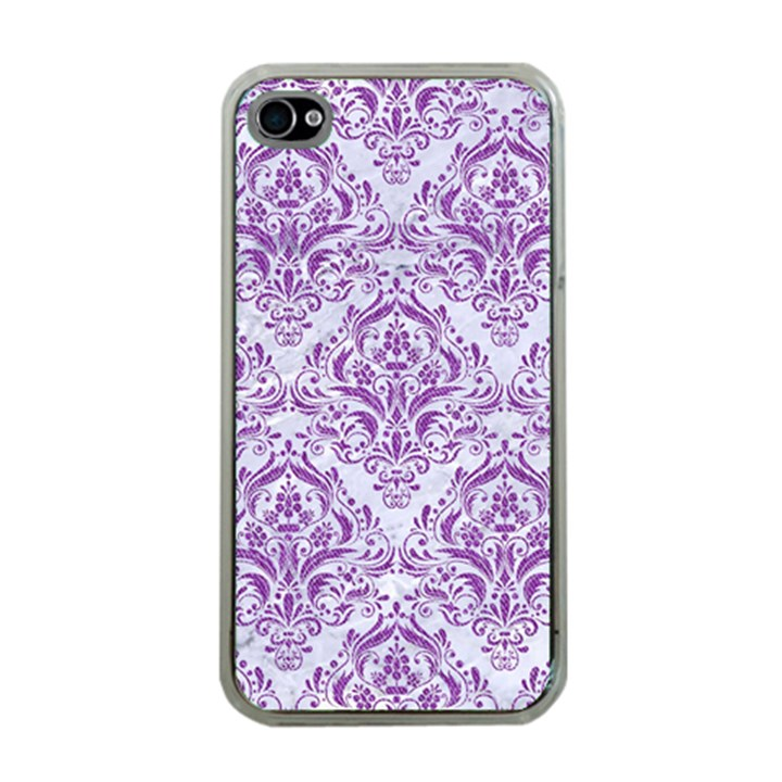 DAMASK1 WHITE MARBLE & PURPLE DENIM (R) Apple iPhone 4 Case (Clear)
