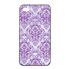 DAMASK1 WHITE MARBLE & PURPLE DENIM (R) Apple iPhone 4/4s Seamless Case (Black)