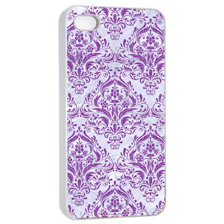 DAMASK1 WHITE MARBLE & PURPLE DENIM (R) Apple iPhone 4/4s Seamless Case (White)